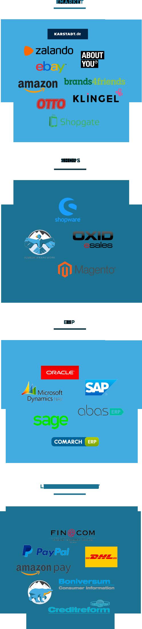 LVS - OMS - Shops - ERP- PIM - Marktplatz - Portal - Anbindung - Omni Channel - Zalando Partnerprogramm - OSS - DOSS - Click & Collect - SAAS - Enterprise Cloud System - Cloud